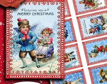 Vintage Christmas Cards- Let it Snow - Atc Cards - Christmas Gift Tags -  Instant Download - Christmas Collage Images