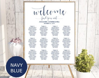 Navy Blue seating chart, Wedding seating chart template, seating chart printable, editable seating plan, Find your seat sign