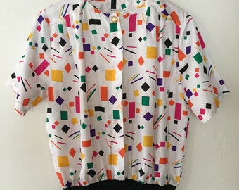 Vintage 80s Womens Confetti Blouse Top Shirt Size Small - Medium