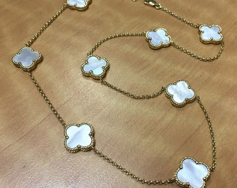 14k Yellow Gold Clover Station Necklace - Mother of Pearl - Double Sided