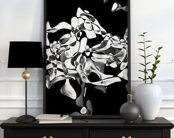 Abstract Art Poster Black And White Wall Art Black And White Print Black And White Abstract Art Black And White Art Black And White Poster