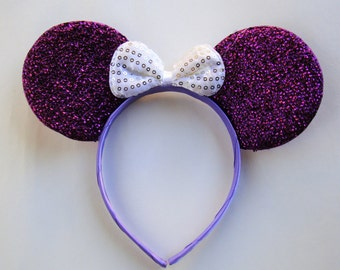 Minnie mouse ears-purple glitter ears with white bow
