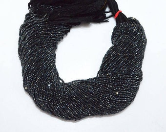 """Fine Diamond Cutting Black Spinel Silver Coated Rondelle, Mystic Coated Faceted Beads, Sold By Strand, 1.80-1.90 mm, 13"""" - MC368A"""