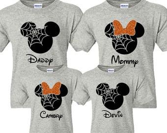 SALE!! Halloween Family Mickey Minnie Shirts, Matching Vacation Shirts, Disney Shirts Vacation, Mickey Head Shirts, Pumpkin, Spiderweb, Fall