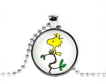 Woodstock Necklace Woodstock Pendant Snoopy Jewelry Photo Glass Pendant Peanuts Jewelry