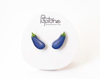 Eggplant Purple Earrings, aubergine vegetable stud earrings, eggplant jewelry