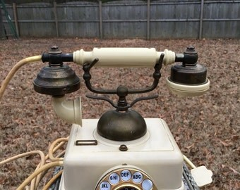 Vintage French Victorian Cradle style cream colored rotary dial phone, vintage phone, vintage decor, rotary dial phone, vintage rotary,
