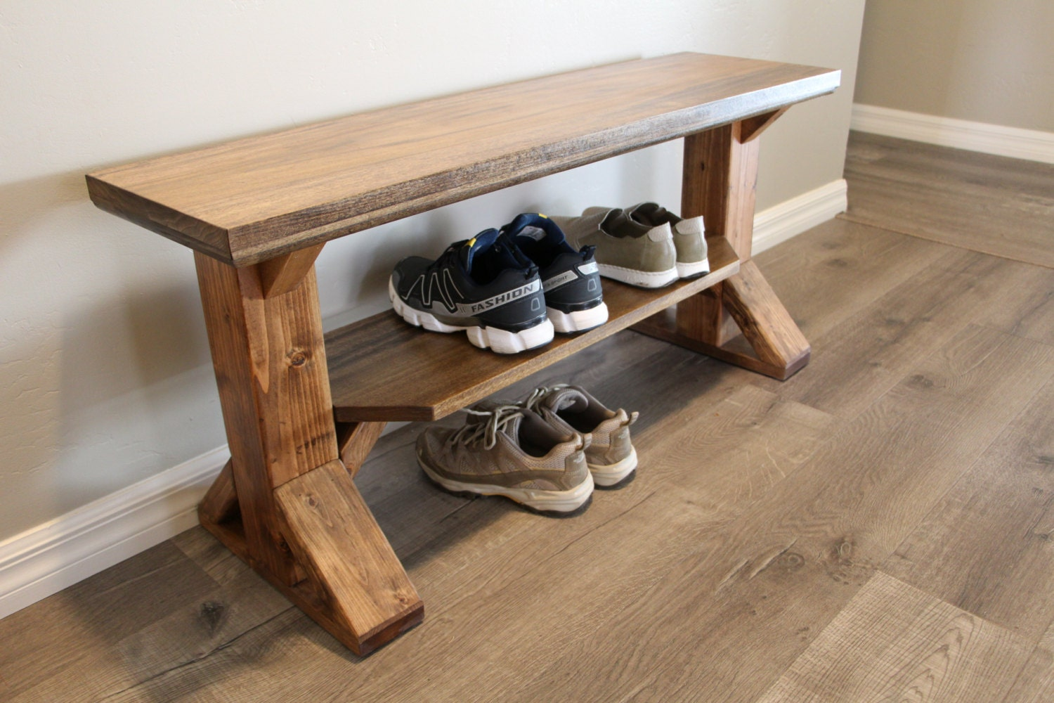 Solid Wood Farmhouse Entry Bench Storage By Therusticforest