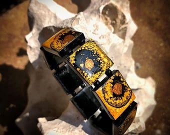 Hufflepuff Pride - Fetache Cube Stretch Bracelet  - OOAK Created Fantasy Stones - Handmade Alchemy - Harry Potter Inspired