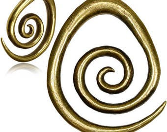 Spiral ear 8mm, jewels of stretched Lobe, spreaders heavy weight brass