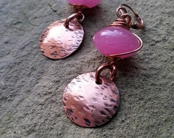 Hammered Copper Dangles with Wire Wrapped Dusty Rose Pink Bead//Gifts for Her//Rustic Copper Dangles//Earrings//Boho Earrings//Dangles/Drops