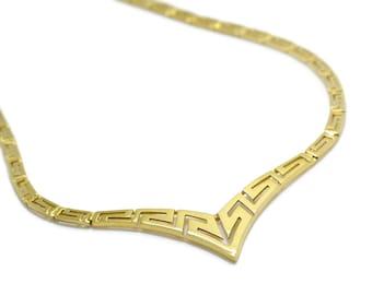 Greek Meander Necklace Gold , 14K Solid Gold Necklace, Greek Key Necklace, Yellow Gold Necklace, Greek Key Necklace Jewelry, Greek Jewelry