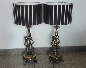 Pair Antique Cherub Figural  Bronze Lamp