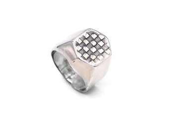 Men Checkers Ring, sterling silver ring, Checkers ring, men ring, silver Checkers ring, Checkers jewelry, silver spiral, 925 sterling silver