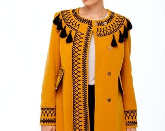 Embroidered Cashmere Coat for Woman. Boho style. Ukrainian Embroidered Dress. Winter coats. Autumn coat. Ocher Jacket. Designer Vyshyvanka.