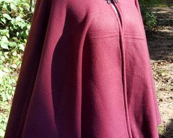 Short Fleece Cloak - Burgundy Wine Full Circle Cloak Cape with Hood