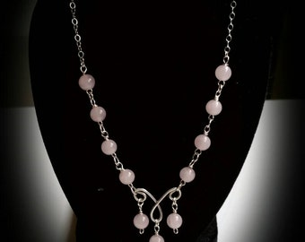 Rose Quartz- Unconditional Love Necklace- Healing Crystals- Natural Stones - Gemstones- Sterling Silver Jewerly