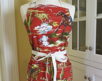 Cowboy Apron, USA Made Apron, Womens Apron, Chefs Apron, Western Apron, Vintage Apron, Cute Apron, Chili Cookoff Apron