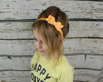 Orange and Silver Polka Dot Headband with Glitter Bow