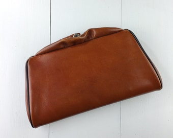 Vintage Brown Leather Clutch W/ Ruffle Top