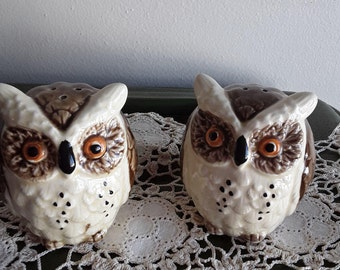 Vintage Ceramic Owl Salt and Pepper Shakers