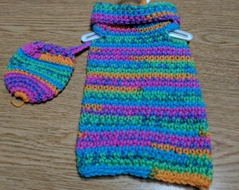 """Crocheted Rainbow Dress and Hat for 18"""" Dolls"""