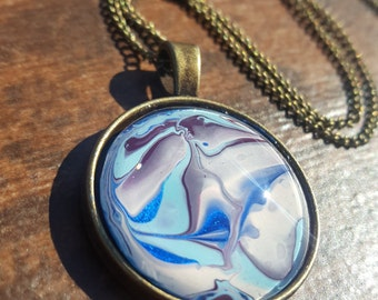 Bronze necklace, water marble, pendant, water marbled crafts, necklace for women, one of a kind