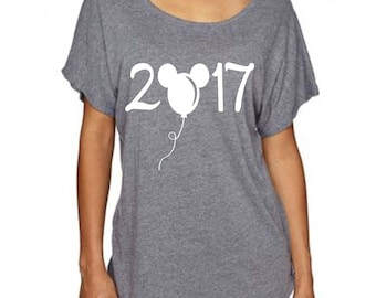 Disney Shirt for Women - 2017 with Mickey Mouse Balloon Cute Disney Loose Fitting Top Great for Family Reunion in Disney World or Disneyland