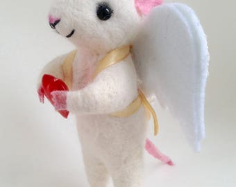 ANGEL OF LOVE, needle felted mouse, needle felted animal, nature friendly soft toy, felt mouse, felted mice, eco friendly toy, Angel mouse