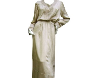 Yves Saint Laurent Rive Gauche Embroidered Champagne Silk Gown