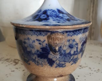 Sucrier sugar pot patina dark Shabby Chic ironstone ceramic Jeanne D ' arc living rare blue decor