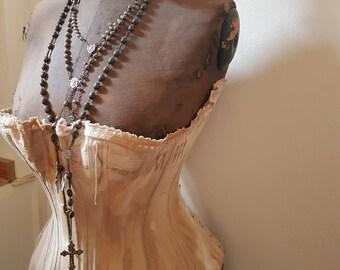 RESERVED for C.  Do not buy dress form corset antique mannequin waist shabby France