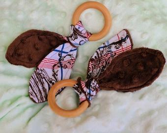 Wooden Teether Ring   Bunny Ear Teething Ring   Wooden Teething Toy   Teether