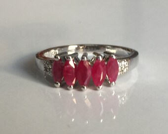 NATURAL unheated ruby ring in 925 sterling silver