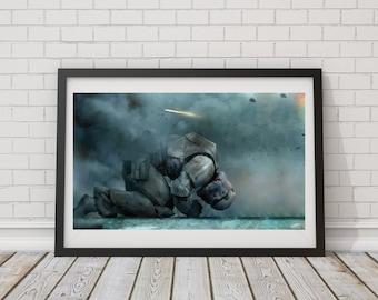 LARGE SIZE Star Wars Storm Trooper Poster/ Storm Trooper Defeat Poster / Star Wars Art / Star Wars Poster / Storm Trooper Poster /