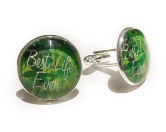 JW Gift Cufflinks - Best Life Ever - Green