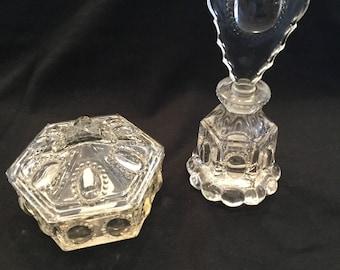 Vintage L. E. Smith Beaded Medallion Perfume and Box