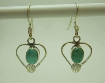 925 Sterling Silver Heart Shape Turquoise Earring