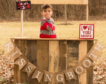 Burlap Kissing Booth Banner Valentines Day Photo Props Photography Prop