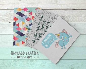 Fun and inspirational quote postcards / notecards - series 8