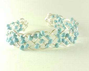 Braided beaded turquoise wire open bangle bracelet