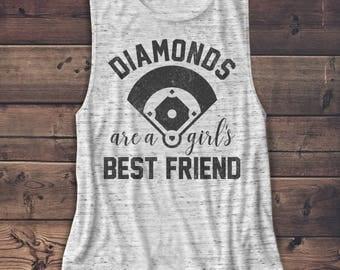 Diamonds are a Girl's Best Friend - Baseball - Women's Muscle Tee  - Muscle Tank - T Shir - Graphic Tee  - Workout Top - Baseball Mom