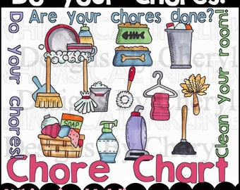 Do Your Chores Clipart for planner stickers, scrapbooking, cardmaking, educational use, personal and small commercial use ok