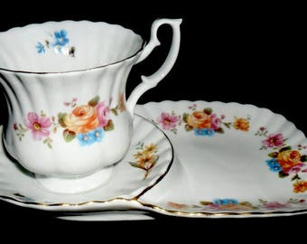 Vintage Chodziez Tea Cup with Saucer Plate~Tea Cup Collectors Set~Tea Time Cookie Plate~Made in Poland~Housewarming Gift~Porcelain Tea Cup~