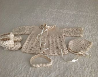 Handmade crocheted baby sweater, bonnet, headband & crocodile stitch booties