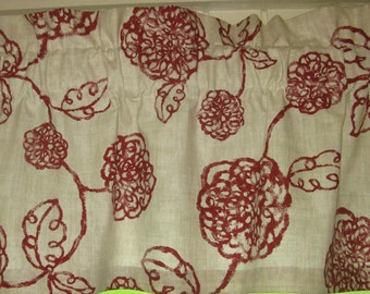 "3"" Pocket Rod Valance, Magnolia Home Adele Crimson fabric, 3"" Pocket Rod Curtain, Red and Cream Floral Valance"