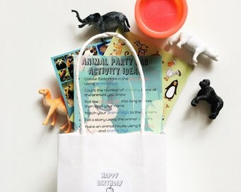 6 Zoo Animal Birthday Party - Animal Party Favours - Kids Party - Party Bags - Kids Party Favors - Treat Bags - Birthday Party - Return Gift