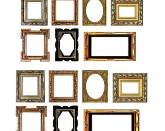 7 Vintage Victorian Style Picture Frames 1/12 scale, Miniature Picture Frames, Dollhouse Wall Pictures, PDF Dollhouse, Vintage Picture Frame