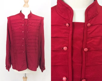 Vintage tomato red shirt /blouse with military styling and mandarin collar