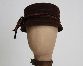 Women's Felt Hat, Pillbox, Brown Felt Hat, Velvet Ribbon
